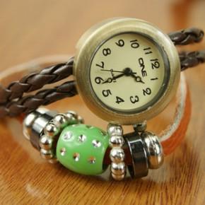 2272  古铜皮绳个性手表 时尚韩版复古女手表编织 服饰配饰手链表