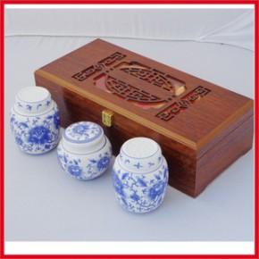 青花瓷茶叶罐木盒 通用镂空长花窗礼盒套装 现货