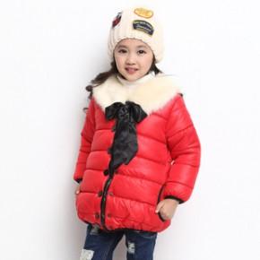 2013爆款儿童女童韩版棉衣 毛领蝴蝶结纯色女童棉衣外套长款棉衣