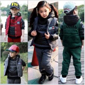 冬季新款 男大童 女童三件套 卫衣童装三件套 加厚加绒
