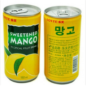 韩国进口饮料乐天芒果汁180ml*15/组90瓶/箱 进口饮料