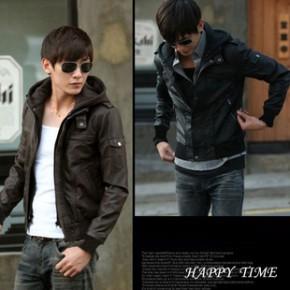 2013秋冬新款时尚韩版男士可拆卸连帽皮衣外套短款加厚男式