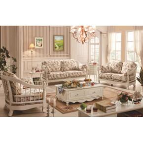 小户型韩式田园沙发欧式地中海组合布艺实木沙发F8015