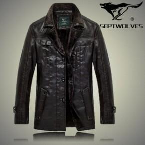 2013冬季品牌男士皮衣 真皮加绒保暖皮衣西装领男装 一件代发