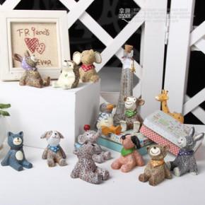 zakka杂货仰望星小动物桌面摆件 创意树脂工艺品家居摆设装饰玩具