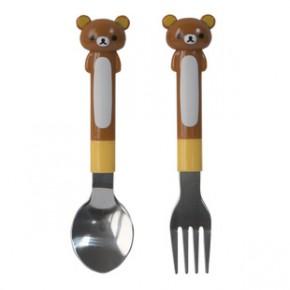 轻松熊叉子勺子 rilakkuma不锈钢餐具套装 儿童环保叉子勺子