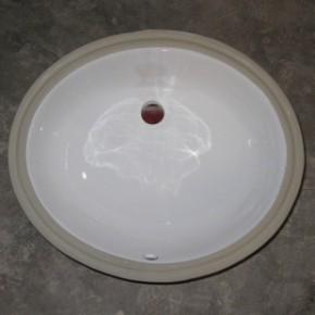 20寸椭圆型白色带槽陶瓷台下洗手盆2-2001