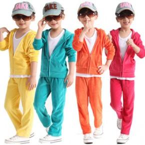 2014春夏品牌童装定制加工生产 女童天鹅绒休闲运动套装批发