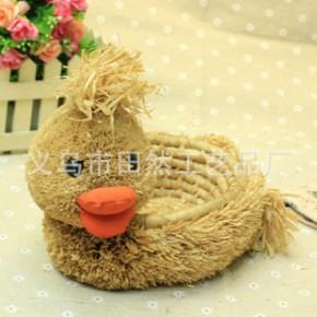 复活节小鸭收纳筐 纯手工草制卡通背筐小鸭筐 玉米皮编织收纳筐