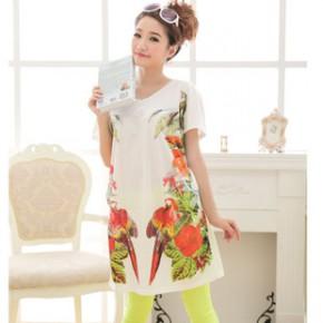韩版新款孕妇装 鹦鹉印花女长款T恤 孕妇T恤 长款裙子829