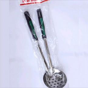 不锈钢汤勺漏勺组合 火锅专用汤壳汤漏套装 7公分塑胶柄火锅勺漏