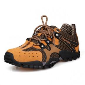 新款男式时尚运动鞋户外徒步登山鞋真皮网布透气男鞋免费代理