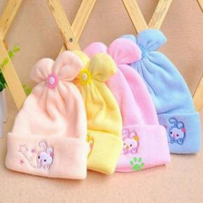 韩版婴儿帽子 秋冬宝宝毛线帽 新生儿胎帽 兔耳朵帽 儿童保暖帽子