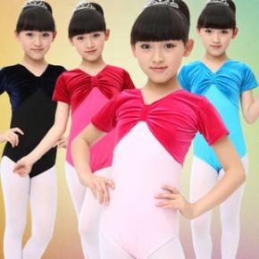 儿童舞蹈服装 棉+金丝绒练功服 女童短袖体操芭蕾练习考级连体服