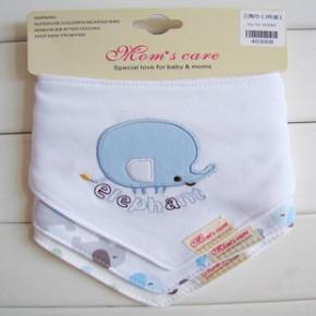 婴儿三角巾  momscare 外贸三件装新款按扣围兜 纯棉双层三角巾嘴