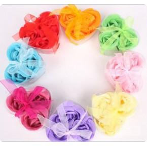 玫瑰香皂花批发3朵2层装礼盒婚庆用品五一节活动小礼品