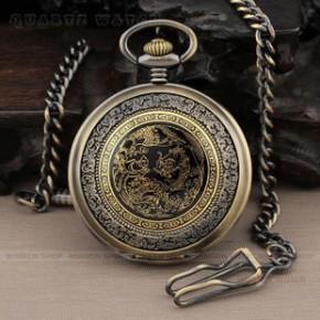 PQ070 精致奢华金龙黑底白色表盘数字刻度古铜色挂链石英礼品怀表