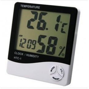大屏幕家用温度计温湿度计 高精度室内电子温度计HTC-1 带闹钟