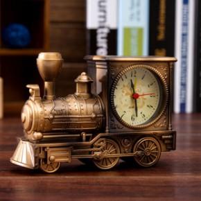 复古火车头模型闹钟 时尚家居精品摆件 创意卡通闹钟 学生礼品