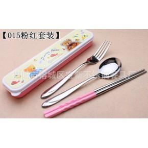 小号塑料叉勺筷便携式中餐具三件套 儿童叉勺筷卡通盒装
