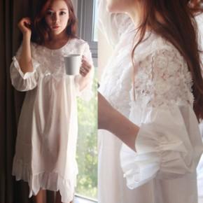 韩国睡衣春夏女士蕾丝公主纯棉性感连衣裙睡裙家居服套装休闲宽松