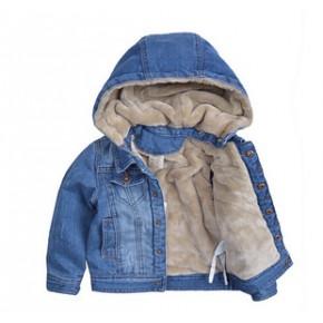 欧美外贸童装 2014秋冬款 时尚可脱帽加绒儿童牛仔服 加厚童外套