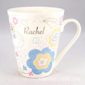外贸 陶瓷杯子 金银粉色 时尚花卉 骨瓷 牛奶杯 咖啡杯