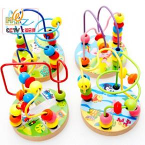 木丸子木制迷你小绕珠串珠迷宫穿线 儿童早教婴幼儿益智玩具榉