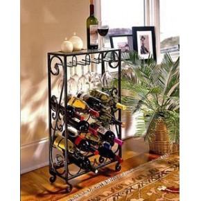 现代时尚 铁艺红酒架 葡萄酒架落地 酒杯架