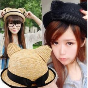 猫耳朵麦秆猫咪草帽韩版亲子儿童帽子太阳帽男女士夏天遮阳帽女潮