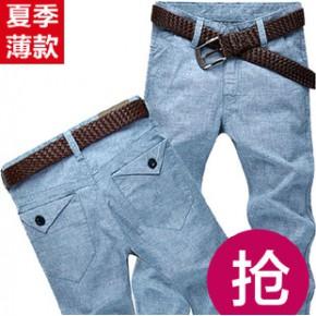 杰克丝盾男装修身直筒男士休闲裤小直脚男裤长裤子大码潮休闲裤男