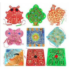 木丸子磁性运笔迷宫 儿童益智木制玩具 环形迷宫蝴蝶甲虫磁性迷宫