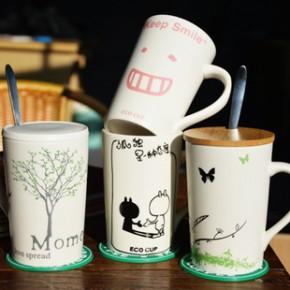 新款骨瓷杯子带盖勺陶瓷大容量马克杯咖啡杯创意情侣水杯
