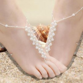日韩风首饰批发 仿珍珠编织新款脚链 纯手工制作弹力好沙滩美女