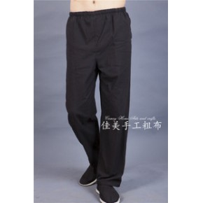 中国风男士纯棉粗布唐装 男裤子晨练裤太极服运动裤唐装 男休闲裤