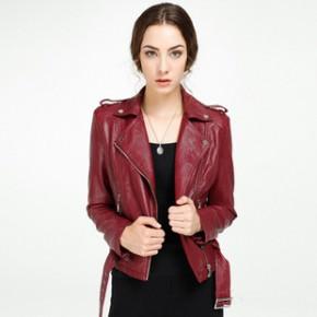 booty2014秋装新款欧美修身PU皮短款皮衣女士机车时尚外套欧洲站