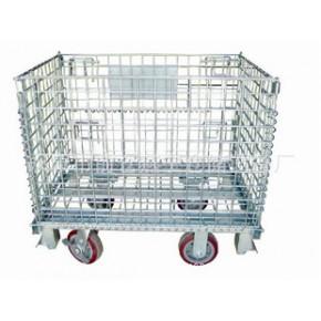 外销带脚轮可折叠式仓储笼,带轮子仓储笼,仓库笼,促销笼