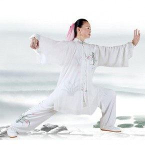 刺绣兰花太极服 新款春夏真丝绸表演服 男女带披纱三件套#988