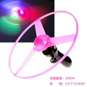 拉线飞碟 新奇发光飞碟玩具 夜市地摊热销 大号25厘米拉线飞轮