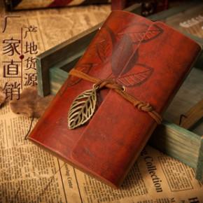 韩国文具 创意树叶本 学生皮革记事本 活页日记本厚 复古笔记本