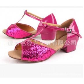 拉丁舞鞋 女 儿童 少儿国标舞蹈鞋中跟软底小孩跳舞鞋幼儿女童夏