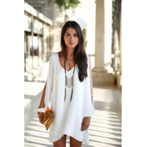 ebay外贸热卖新款女装 大牌欧美风宽松v领短款雪纺A字连衣裙女装