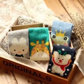 Z018 厂家秋冬季袜子批发 日系 直板卡通羊毛袜 女士保暖袜子