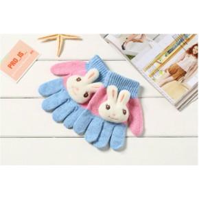 冬季儿童手套手套针织羊毛手套批发儿童全指手套