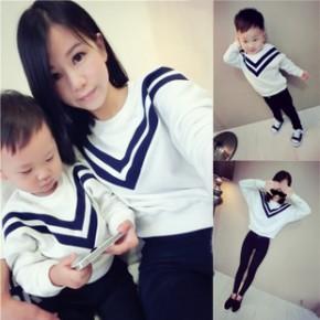 爆款货源秋装儿童亲子装母子装宝宝男童欧美韩版外贸原单套头卫衣