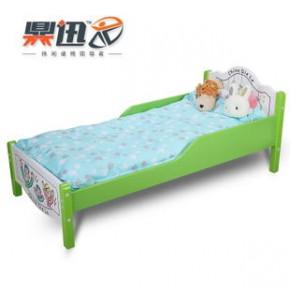 儿童床 加强型环保安全实木儿童床单人带护栏卡通儿童床