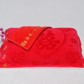婚庆礼品枕巾纯棉枕巾竹纤维32股割绒枕巾喜字枕巾