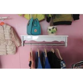 木质烤漆板上墙展示架不锈钢服装架壁挂衣架侧挂货架服装店