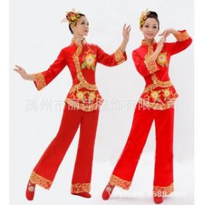 新款秧歌服演出服 女民族舞蹈服 扇子广场舞服装新款套装