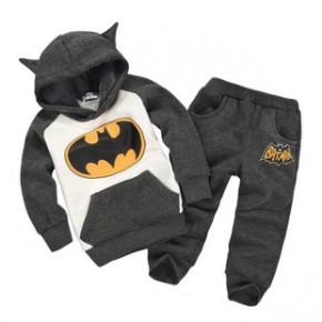 爆款蝙蝠侠套装秋款儿童蝙蝠侠卡通造型套装加绒男女儿童套装